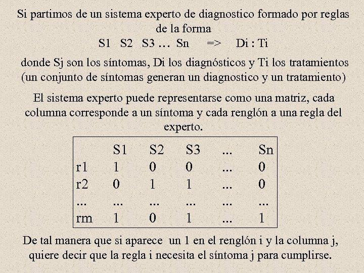 Si partimos de un sistema experto de diagnostico formado por reglas de la forma