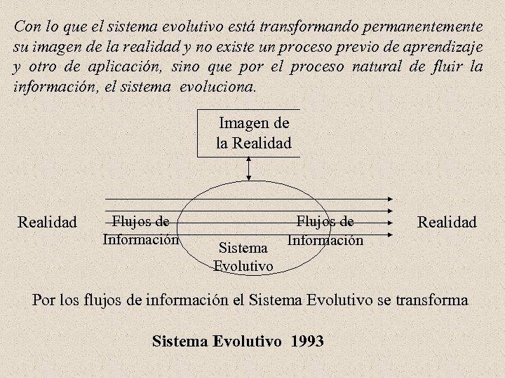 Con lo que el sistema evolutivo está transformando permanentemente su imagen de la realidad