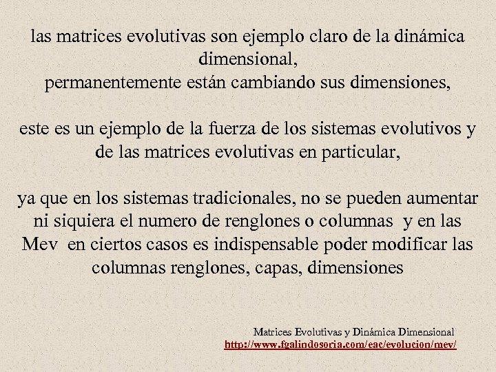 las matrices evolutivas son ejemplo claro de la dinámica dimensional, permanentemente están cambiando sus