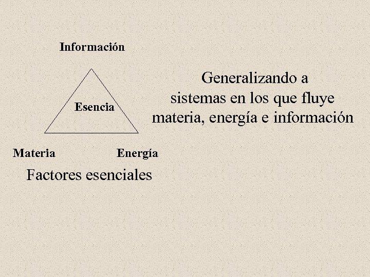 Información Esencia Materia Generalizando a sistemas en los que fluye materia, energía e información