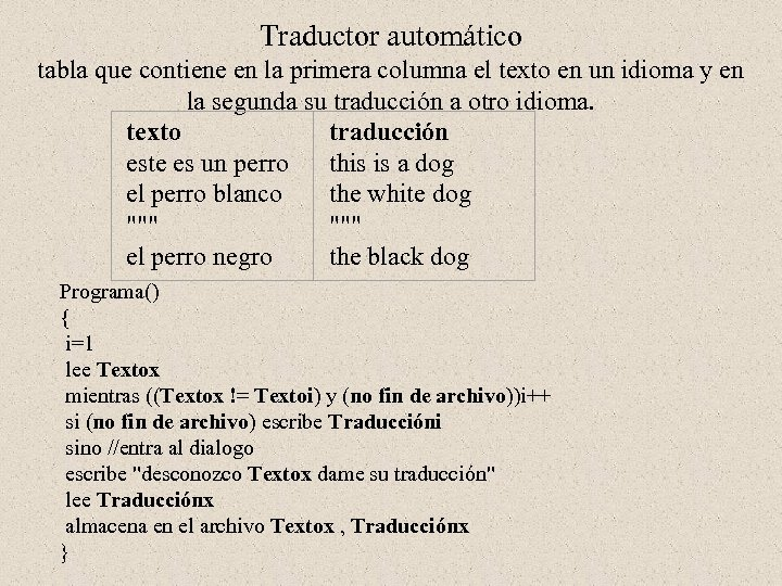 Traductor automático tabla que contiene en la primera columna el texto en un idioma