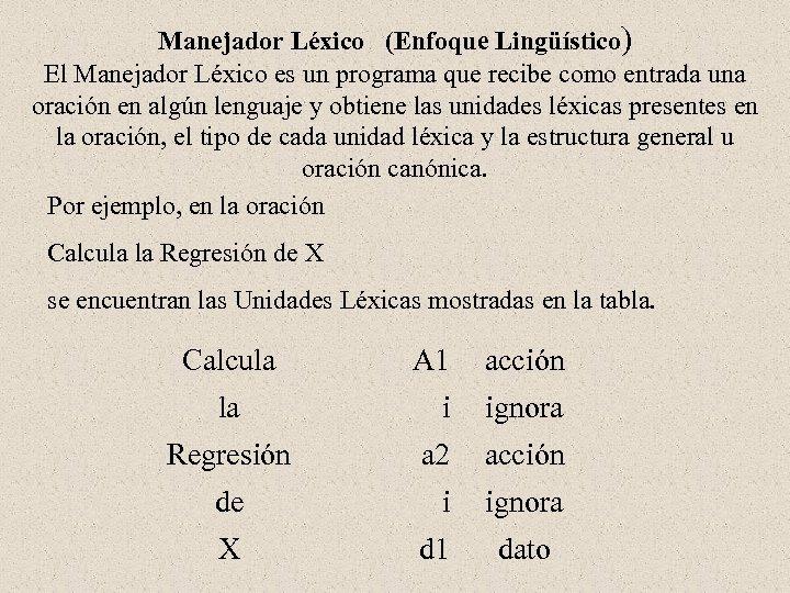 Manejador Léxico (Enfoque Lingüístico) El Manejador Léxico es un programa que recibe como entrada