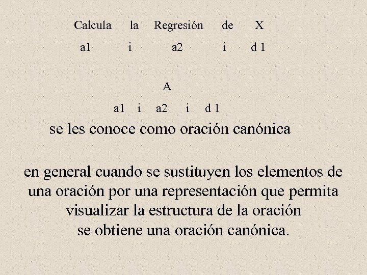 Calcula la Regresión de X a 1 i a 2 i d 1 A