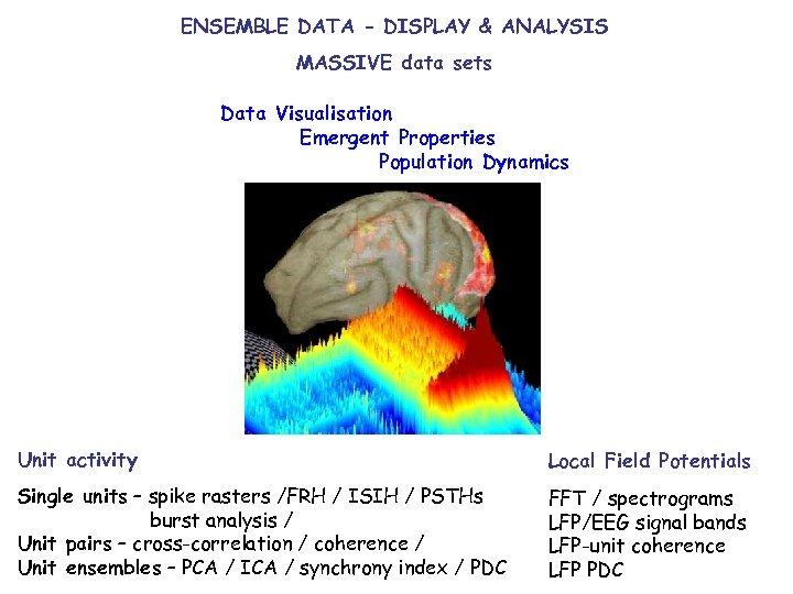 ENSEMBLE DATA - DISPLAY & ANALYSIS MASSIVE data sets Data Visualisation Emergent Properties Population