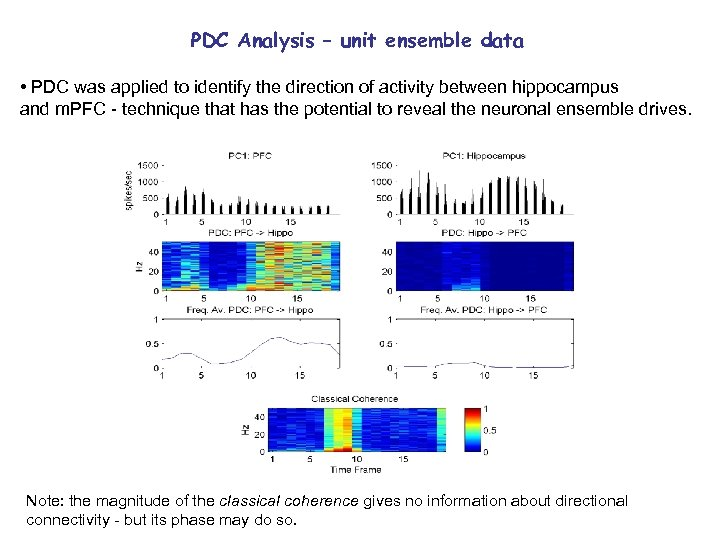 PDC Analysis – unit ensemble data • PDC was applied to identify the direction