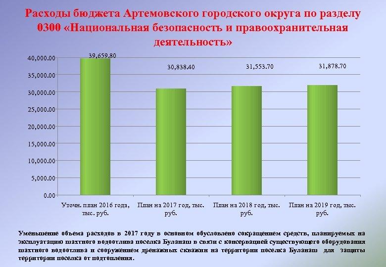 Расходы бюджета Артемовского городского округа по разделу 0300 «Национальная безопасность и правоохранительная деятельность» 40,