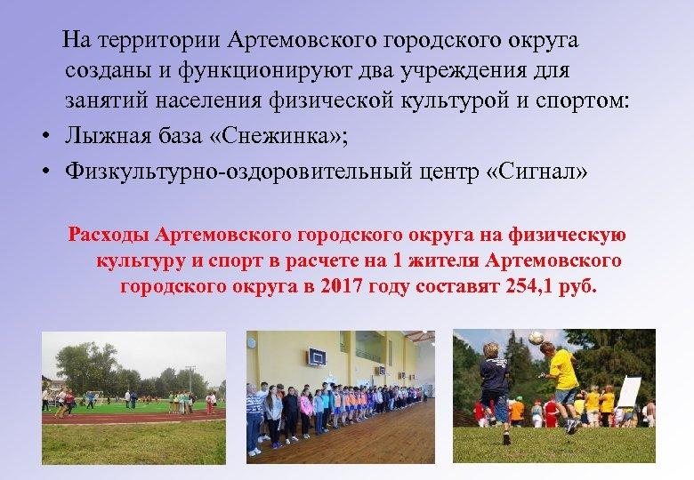 На территории Артемовского городского округа созданы и функционируют два учреждения для занятий населения