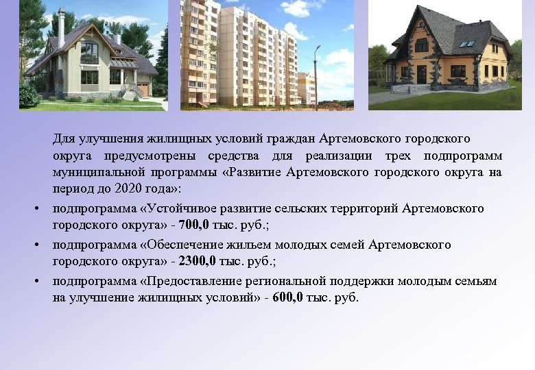 Для улучшения жилищных условий граждан Артемовского городского округа предусмотрены средства для реализации трех подпрограмм
