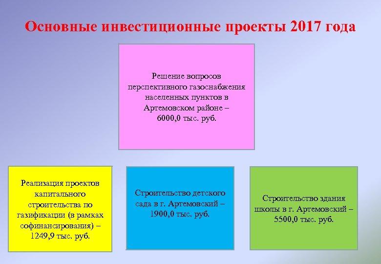 Основные инвестиционные проекты 2017 года Решение вопросов перспективного газоснабжения населенных пунктов в Артемовском районе