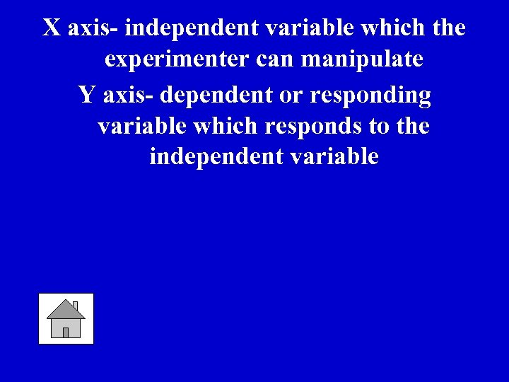 X axis- independent variable which the experimenter can manipulate Y axis- dependent or responding