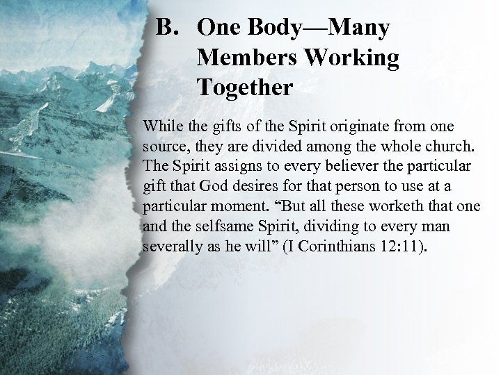 B. One Body—Many V. Gifts for Edification of the Members Working Body (B) Together