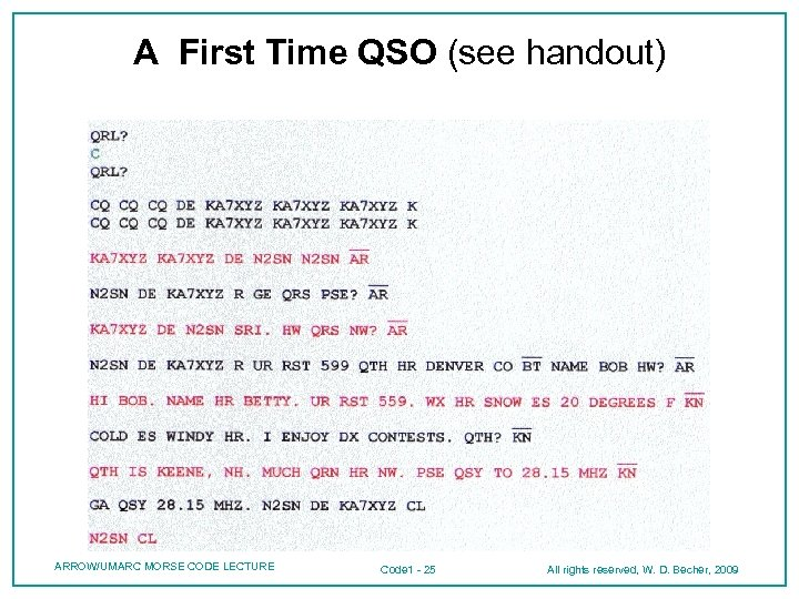 A First Time QSO (see handout) ARROW/UMARC MORSE CODE LECTURE Code 1 - 25