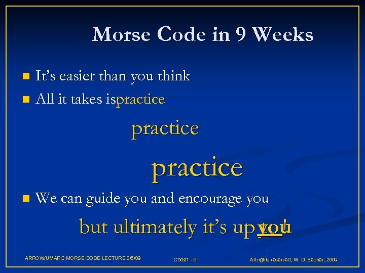 Morse Code in 9 Weeks It's easier than you think n All it takes