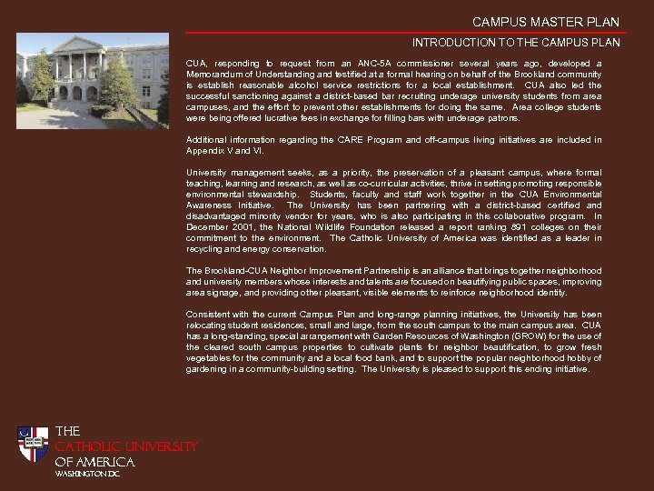 CAMPUS MASTER PLAN INTRODUCTION TO THE CAMPUS PLAN CUA, responding to request from an