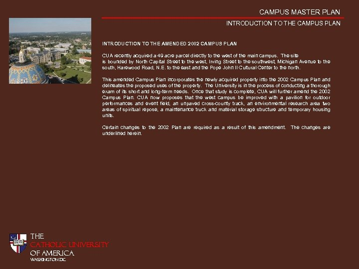 CAMPUS MASTER PLAN INTRODUCTION TO THE CAMPUS PLAN INTRODUCTION TO THE AMENDED 2002 CAMPUS
