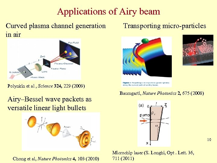 Applications of Airy beam Curved plasma channel generation in air Transporting micro-particles Polynkin et