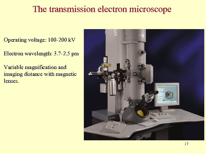 The transmission electron microscope Operating voltage: 100 -200 k. V Electron wavelength: 3. 7
