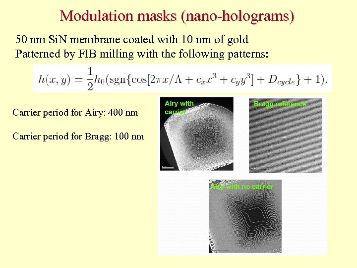 Modulation masks (nano-holograms) 50 nm Si. N membrane coated with 10 nm of gold