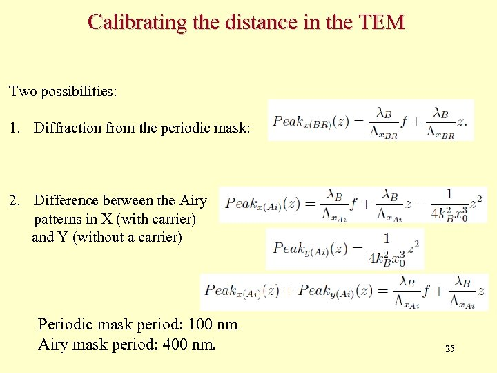 Calibrating the distance in the TEM Two possibilities: 1. Diffraction from the periodic mask: