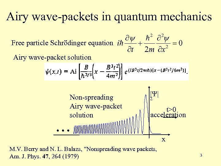 Airy wave-packets in quantum mechanics Free particle Schrödinger equation Airy wave-packet solution Non-spreading Airy