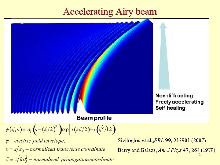 Accelerating Airy beam Siviloglou et al, , PRL 99, 213901 (2007) Berry and Balazs,