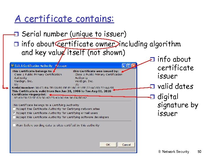 A certificate contains: r Serial number (unique to issuer) r info about certificate owner,
