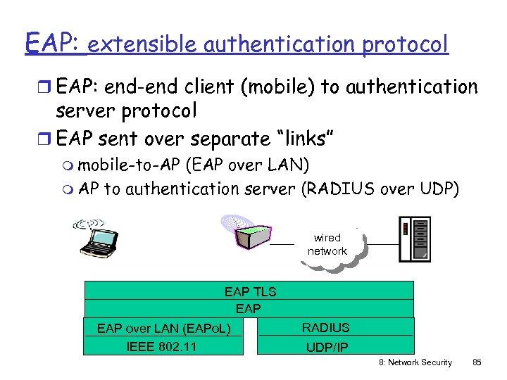 EAP: extensible authentication protocol r EAP: end-end client (mobile) to authentication server protocol r