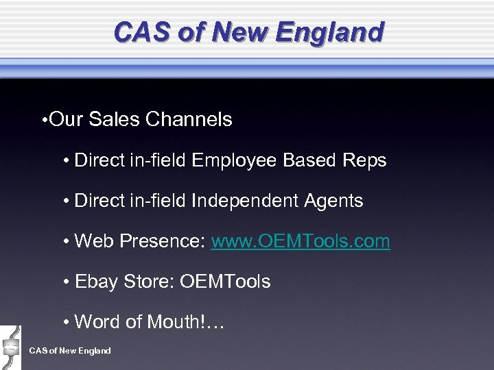 CAS of New England • Our Sales Channels • Direct in-field Employee Based Reps
