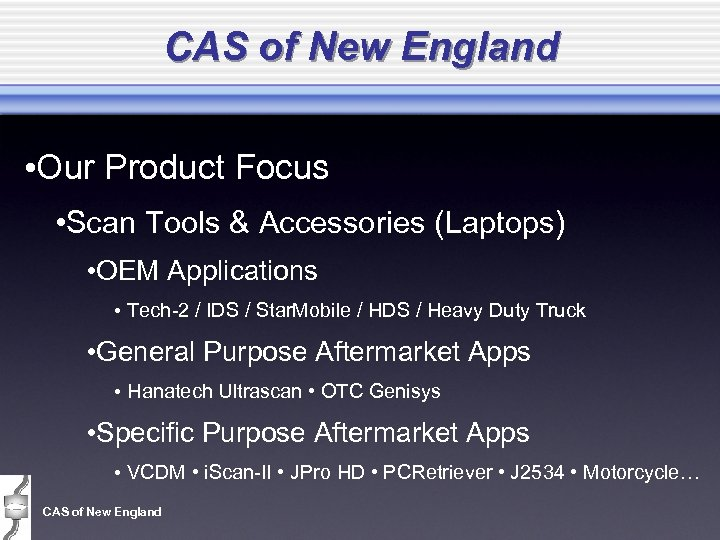 CAS of New England • Our Product Focus • Scan Tools & Accessories (Laptops)
