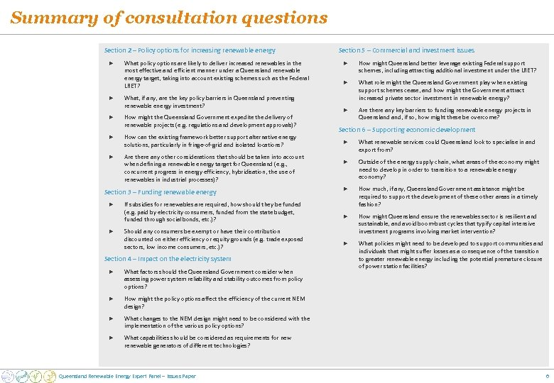 Summary of consultation questions Section 2 – Policy options for increasing renewable energy ►