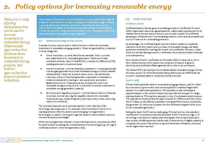 2. Policy options for increasing renewable energy There a range of policy mechanisms that