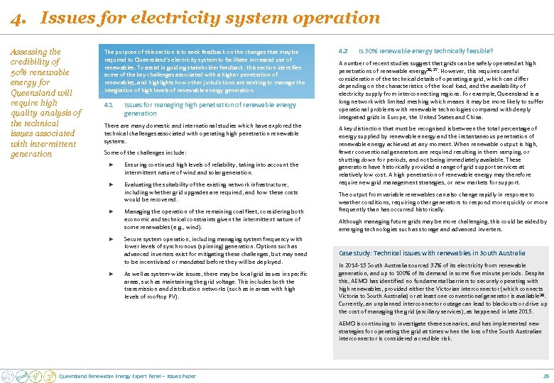 4. Issues for electricity system operation Assessing the credibility of 50% renewable energy for