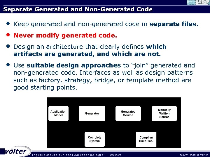 Separate Generated and Non-Generated Code • • • Keep generated and non-generated code in