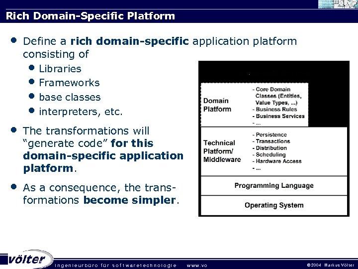 Rich Domain-Specific Platform • Define a rich domain-specific application platform consisting of • Libraries