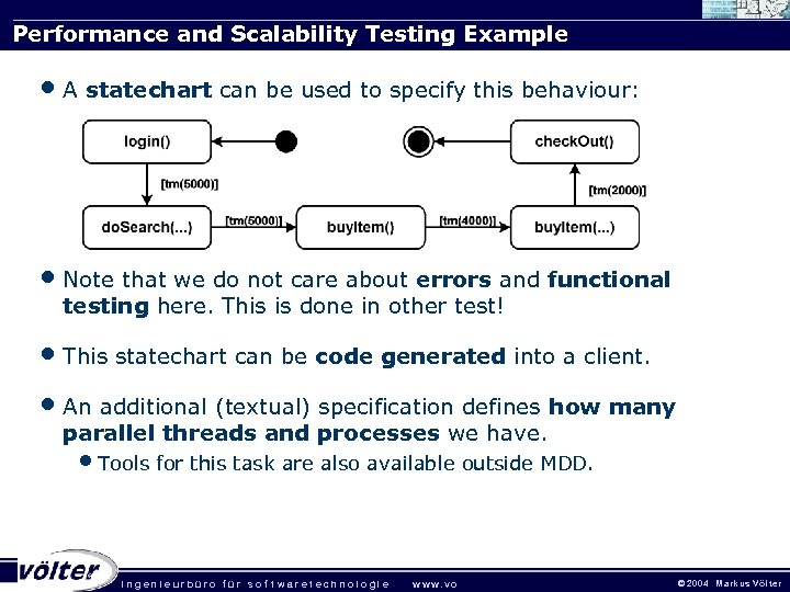 Performance and Scalability Testing Example • A statechart can be used to specify this