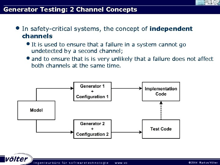 Generator Testing: 2 Channel Concepts • In safety-critical systems, the concept of independent channels