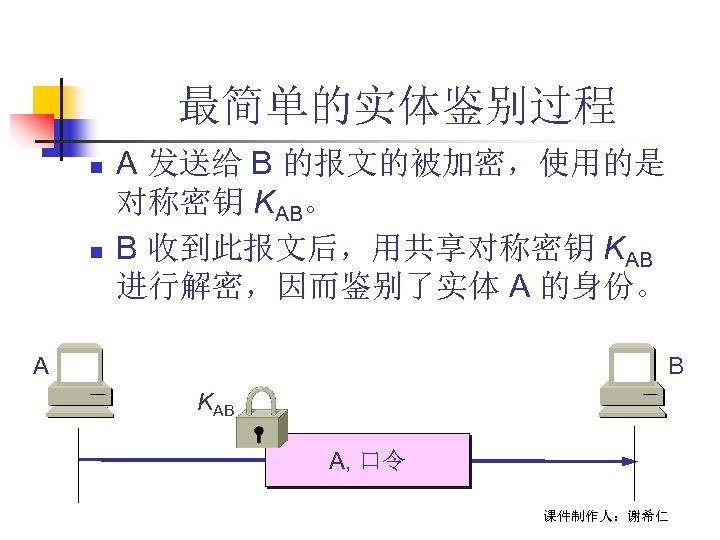 最简单的实体鉴别过程 n n A 发送给 B 的报文的被加密,使用的是 对称密钥 KAB。 B 收到此报文后,用共享对称密钥 KAB 进行解密,因而鉴别了实体 A