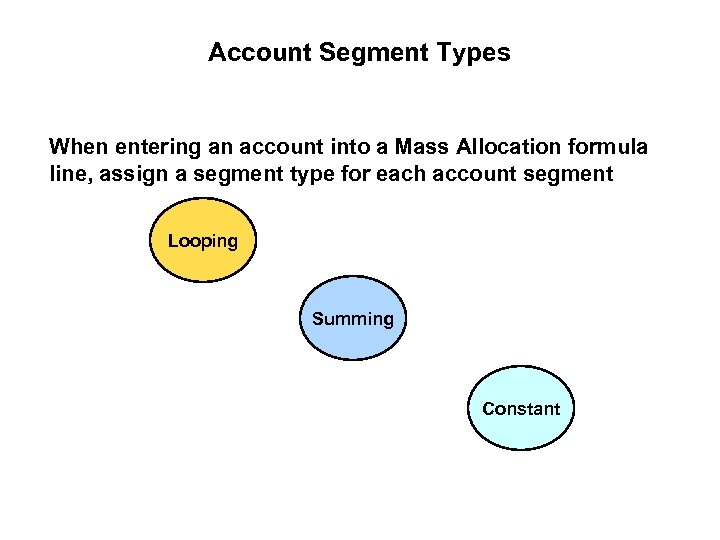 Account Segment Types When entering an account into a Mass Allocation formula line, assign