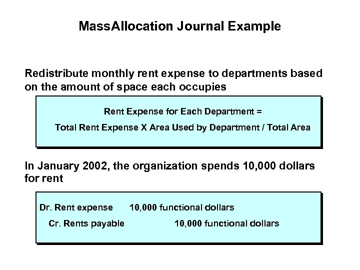 Mass. Allocation Journal Example Redistribute monthly rent expense to departments based on the amount
