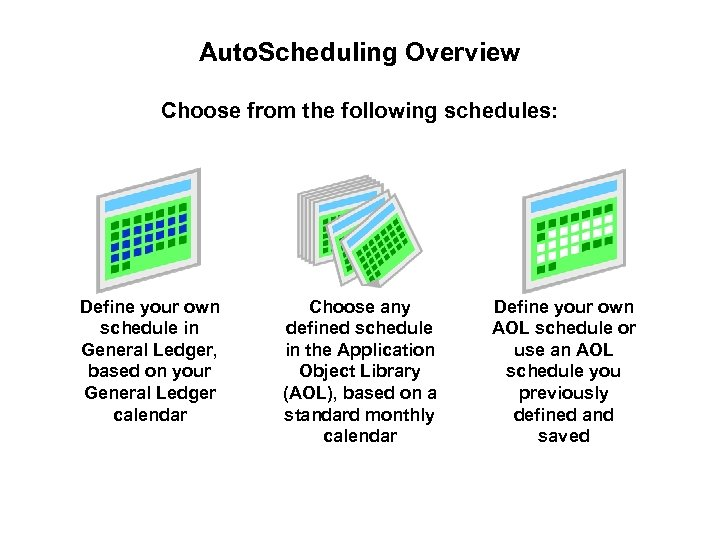 Auto. Scheduling Overview Choose from the following schedules: Define your own schedule in General
