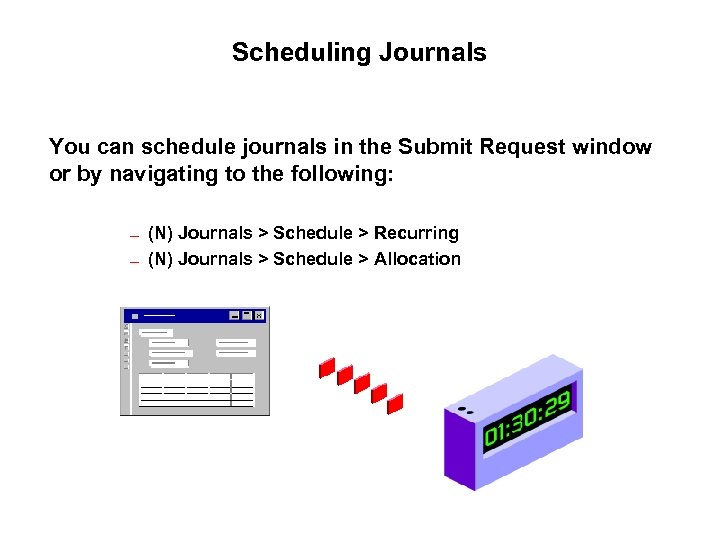 Scheduling Journals You can schedule journals in the Submit Request window or by navigating