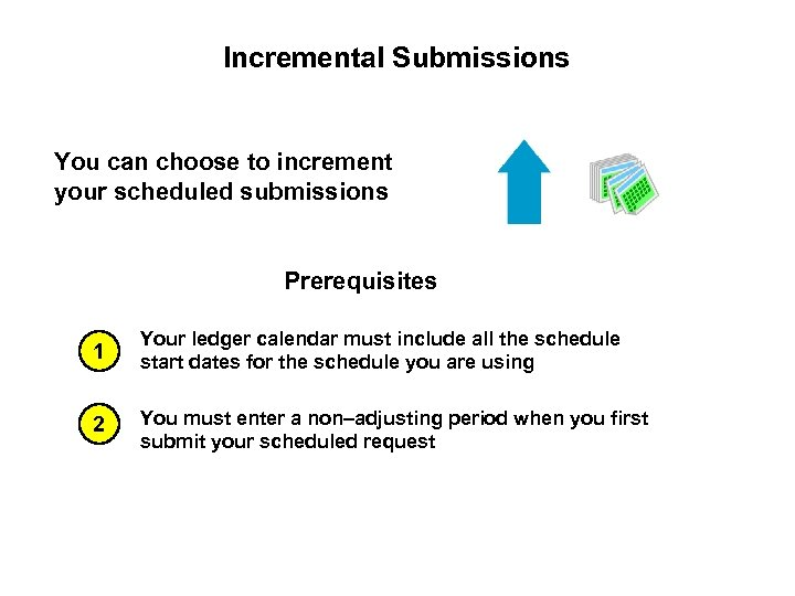 Incremental Submissions You can choose to increment your scheduled submissions Prerequisites 1 Your ledger