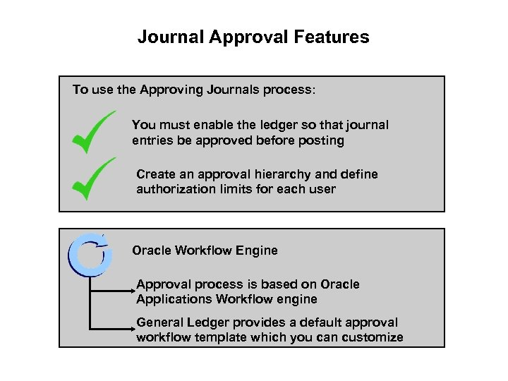 Journal Approval Features To use the Approving Journals process: You must enable the ledger