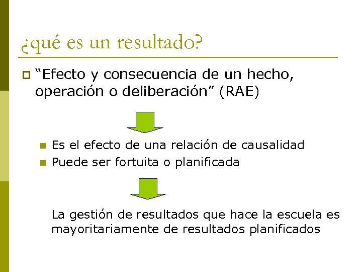 """¿qué es un resultado? p """"Efecto y consecuencia de un hecho, operación o deliberación"""""""