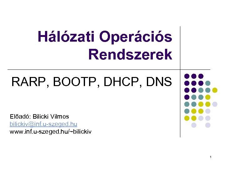 Hálózati Operációs Rendszerek RARP, BOOTP, DHCP, DNS Előadó: Bilicki Vilmos bilickiv@inf. u-szeged. hu www.