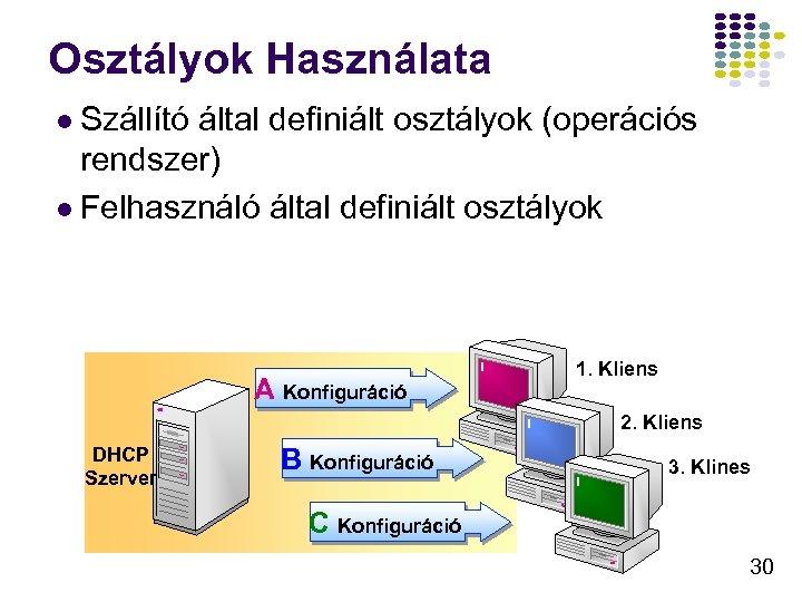 Osztályok Használata l Szállító által definiált osztályok (operációs rendszer) l Felhasználó által definiált osztályok