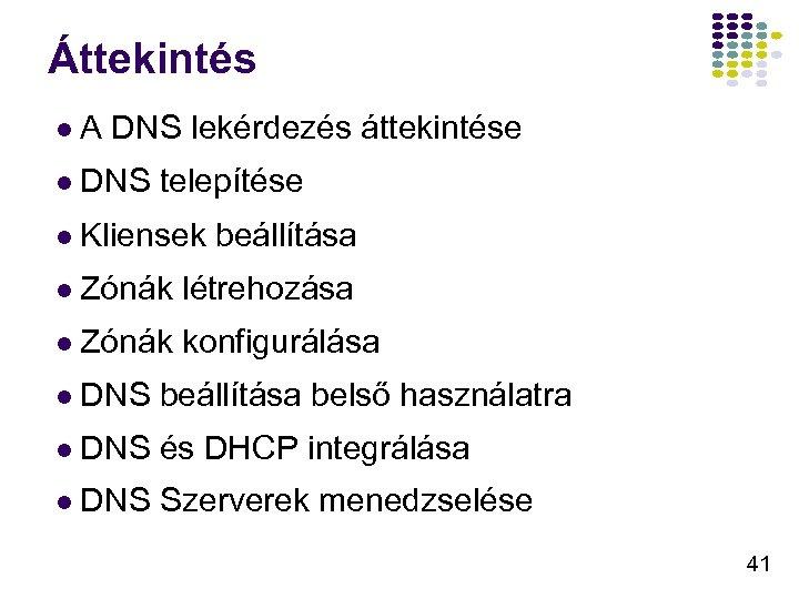 Áttekintés l. A DNS lekérdezés áttekintése l DNS telepítése l Kliensek beállítása l Zónák