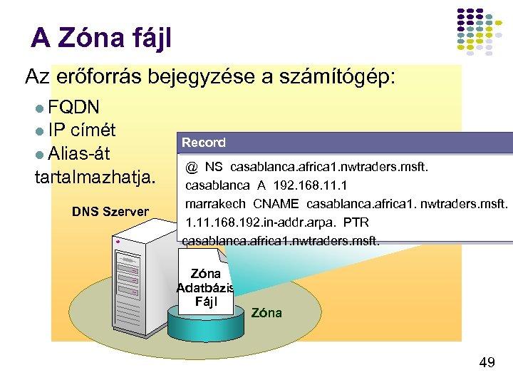 A Zóna fájl Az erőforrás bejegyzése a számítógép: l FQDN l IP címét l