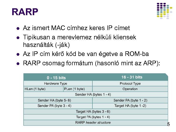 RARP l l Az ismert MAC címhez keres IP címet Tipikusan a merevlemez nélküli