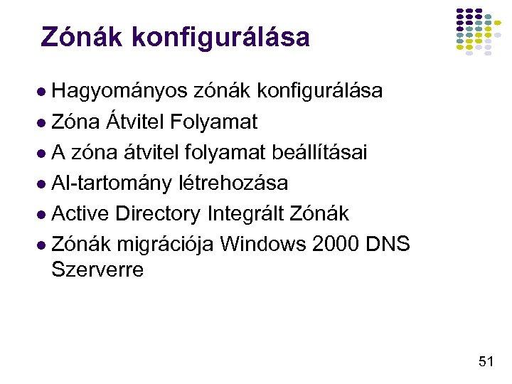 Zónák konfigurálása l Hagyományos zónák konfigurálása l Zóna Átvitel Folyamat l A zóna átvitel